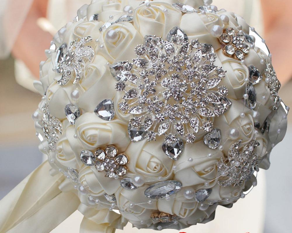 Ornate Rhinestone Pearls And Silk Flowers Wedding Bouquet Little