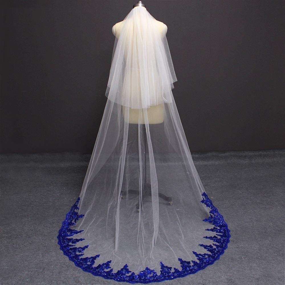 White Wedding Veil With Royal Blue