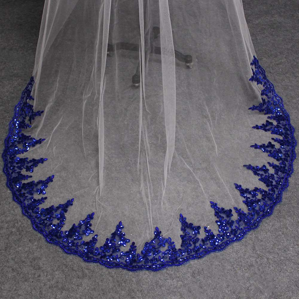 Two-Layer Ivory or White Wedding Veil With Royal Blue Sequined Lace ...