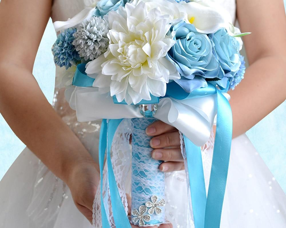 Calla Lily And Blue Rose Silk Wedding Flowers Bouquet Little
