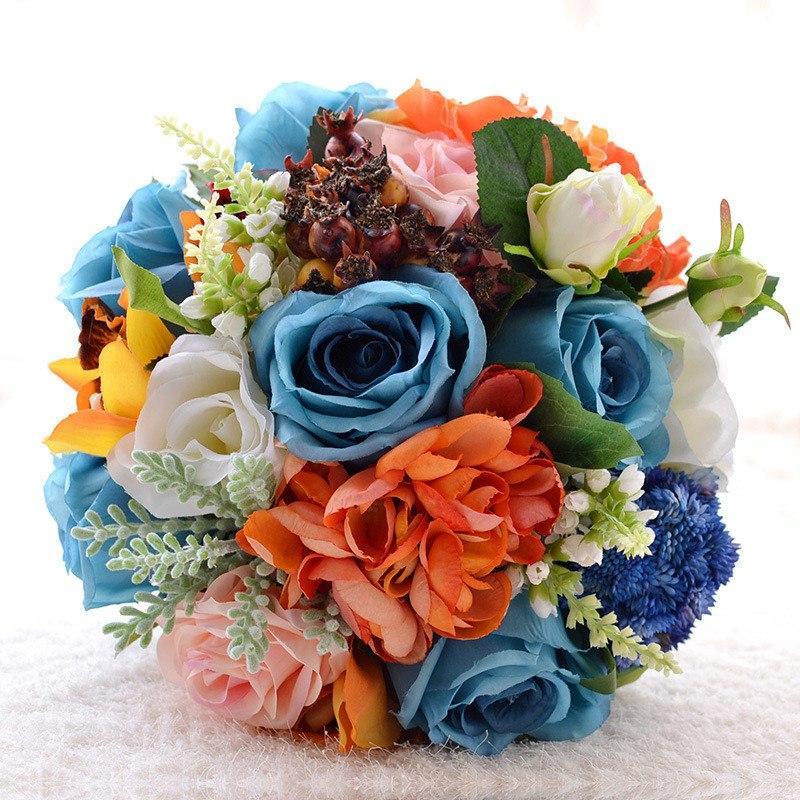 Blue white orange silk flowers wedding bouquet little luxuries 27978 9aecaeeg blue rose bridal bouquet mightylinksfo
