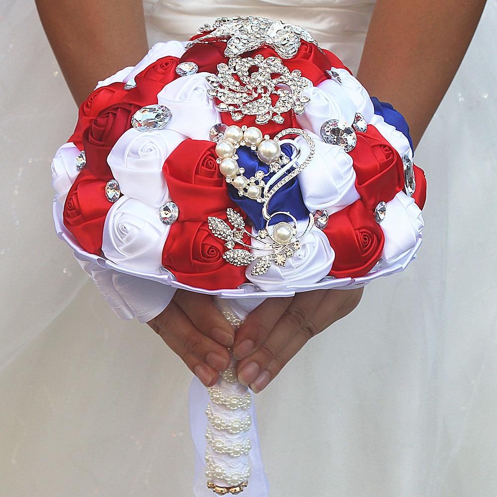 Red And White Wedding.Red White Blue Patriotic Silk Rose Rhinestone Wedding Bouquet